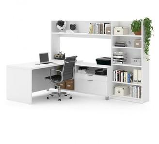 """Upper Squareâ""""¢ DeSandre L-Shape Executive Desk with Hutch and Bookcase Upper Squarea Color: White"""