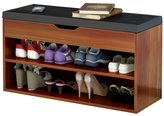 Dland Storage Bench Hall Entryway 2-Tier Shoe Bench Racks Leather Top Sofa Style
