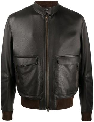 Ajmone Long-Sleeve Leather Bomber Jacket