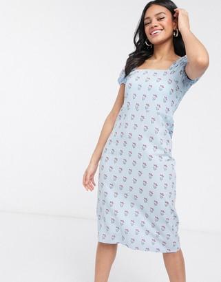 Qed London puff sleeve floral mini dress
