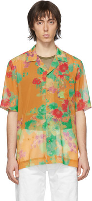 Dries Van Noten Orange Floral Pocket Shirt