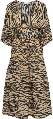 Nicholas Belted Shirred Zebra-print Cotton And Silk-blend Midi Dress