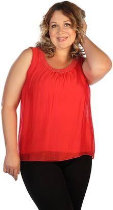 skinnytees Plus Sleeveless Silk & Sequin Blouse