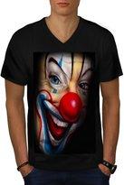 Creepy Evil Clown Smile Freak Men NEW L V-Neck T-shirt | Wellcoda