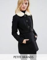 Miss Selfridge Petite Faux Fur Collar Tie Coat