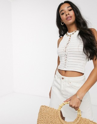 ASOS DESIGN crochet halter neck crop top