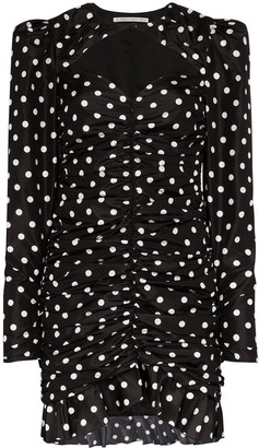 Alessandra Rich Polka Dot Ruched Mini Dress