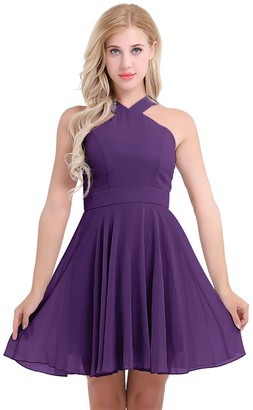 CHICTRY Women's Chiffon Criss-Cross Straps Evening Party Dress Bridesmaid Short Dress Purple UK Size 8