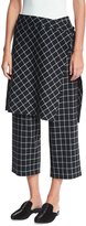 Robert Rodriguez Grid-Print Straight-Leg Ankle Skirted Pants