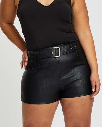 Missguided Curve Faux Leather Shorts
