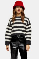 Topshop Womens Petite Charcoal Grey Knitted Stripe Crew Neck Jumper - Charcoal