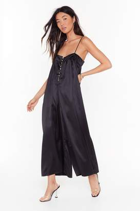 Nasty Gal Womens Sleek to My Heart Satin Wide-Leg Jumpsuit - black - S/M