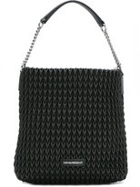 Emporio Armani textured shoulder bag - women - Cotton/Polyester/Polyurethane - One Size