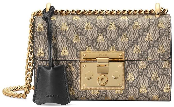 33af3a23db Gold GG bees padlock Small shoulder bag