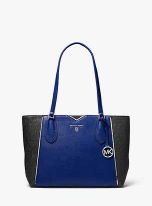 MICHAEL Michael Kors MK Mae Medium Pebbled Leather and Logo Tote Bag - Sapphire - Michael Kors