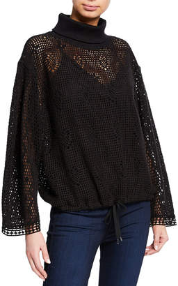 See by Chloe Turtleneck Lace Long-Sleeve Top