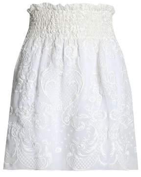 Magda Butrym Cusset Embroidered Silk-Voile Mini Skirt