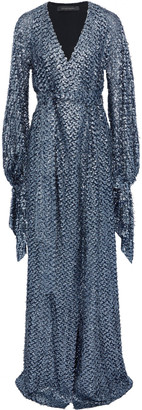 Roland Mouret Wrap-effect Metallic Fil Coupe Gown