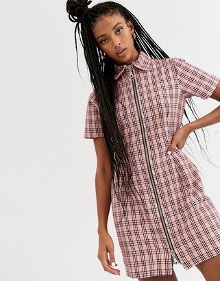 The Ragged Priest mini dress with zip front in check-Pink