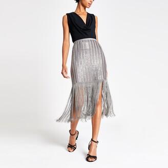 River Island Womens Silver sequin embellished tassel pencil skirt