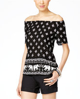INC International Concepts Printed Off-The-Shoulder Peasant Top, Only at Macy's