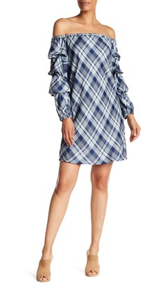 Max Studio Ruffled Sleeve Off-the-Shoulder Plaid Dress