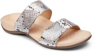 Vionic Leather Slide Sandals - Randi Snake
