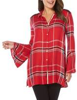 Rafaella Petite Petite Plaid Bell Sleeve Button-Down Shirt