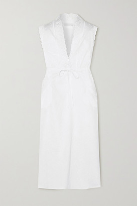 Loretta Caponi Gina Lace-trimmed Embroidered Cotton Maxi Nightdress - White