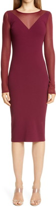Altuzarra Sheer Panel Long Sleeve Body-Con Dress