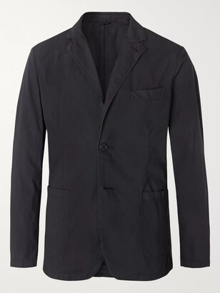 Aspesi Navy Slim-Fit Unstructured Garment-Dyed Cotton-Poplin Blazer