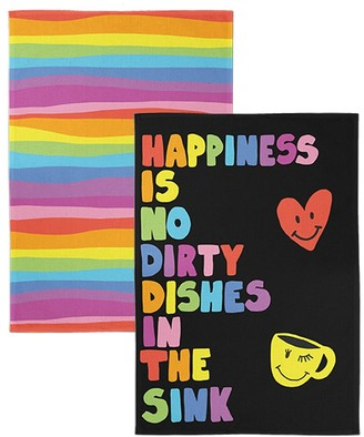 Jewelchic II No Dirty Dishes Cotton Tea Towel Set of 2 Multicolour