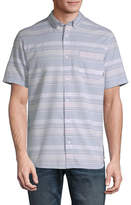 Vans Mens Short Sleeve Striped Button-Front Shirt