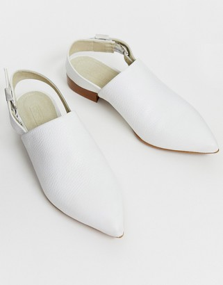 Asos Design DESIGN Miracle leather pointed slingback flat shoes in bone-Cream