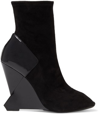 Lanvin Patent Leather-paneled Suede Wedge Ankle Boots