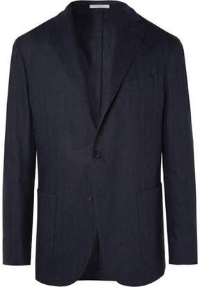 Boglioli Navy K-Jacket Slim-Fit Unstructured Herringbone Virgin Wool-Blend Suit Jacket