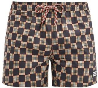 Burberry Greenford Checkerboard-print Swimshorts - Black Multi