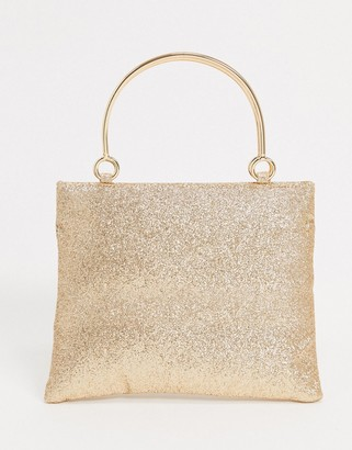 Glamorous occasion boxy clutch bag with metal handle detail in glitter