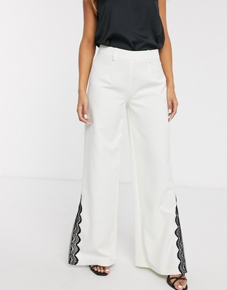 Paper Dolls wide leg trouser with lace split detail co-ord in ivory