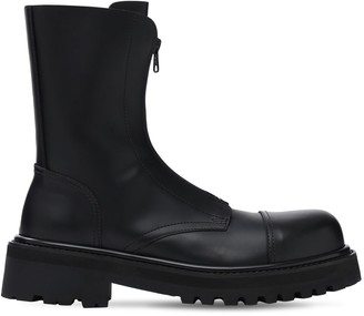 Vetements Zip-Up Police Leather Ankle Boots