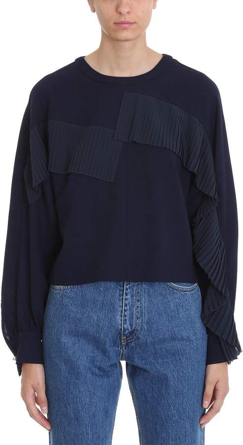 Golden Goose Gemini Blue Virgin Wool Fringed Blouse