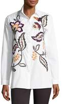 Etro Floral-Embroidered Cotton Shirt, Ivory