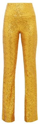 Norma Kamali High-rise Sequinned Kick-flare Trousers - Womens - Gold