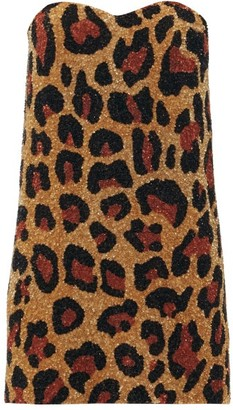 Ashish Strapless Leopard-pattern Sequin Mini Dress - Leopard