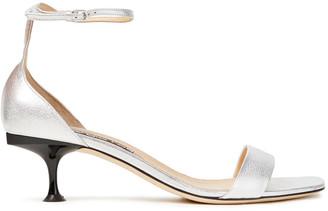 Sergio Rossi Metallic Textured-leather Sandals