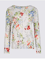 M&S Collection Floral Print Long Sleeve Sweatshirt