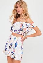 Missguided Floral Printed Bardot Crop Top