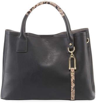 Neiman Marcus Tyler Medium Faux-Leather Satchel Bag