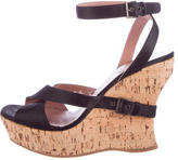 Alaia Satin Ankle-Strap Wedges