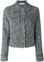 MICHAEL Michael Kors raw edge cropped jacket - women - Polyester/Spandex/Elastane - 2